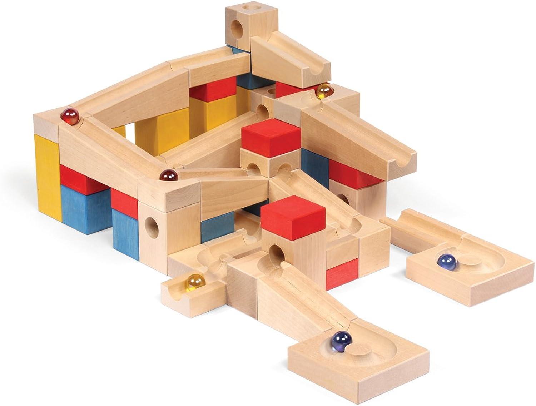 tienda en linea VARIS Circuito de canicas de madera XL, piezas de de de construcción para Niños para un aprendizaje temprano, bloques de madera hechos en Europa  el estilo clásico