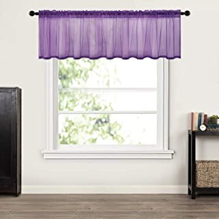MIULEE Window Valance Half Window Sheer Curtains Rod Pocket Semitranslucent Voile Drapes Extra Wide for Small Window Kitchen Cafe One Panel 60 x 18 Inch Dark Purple