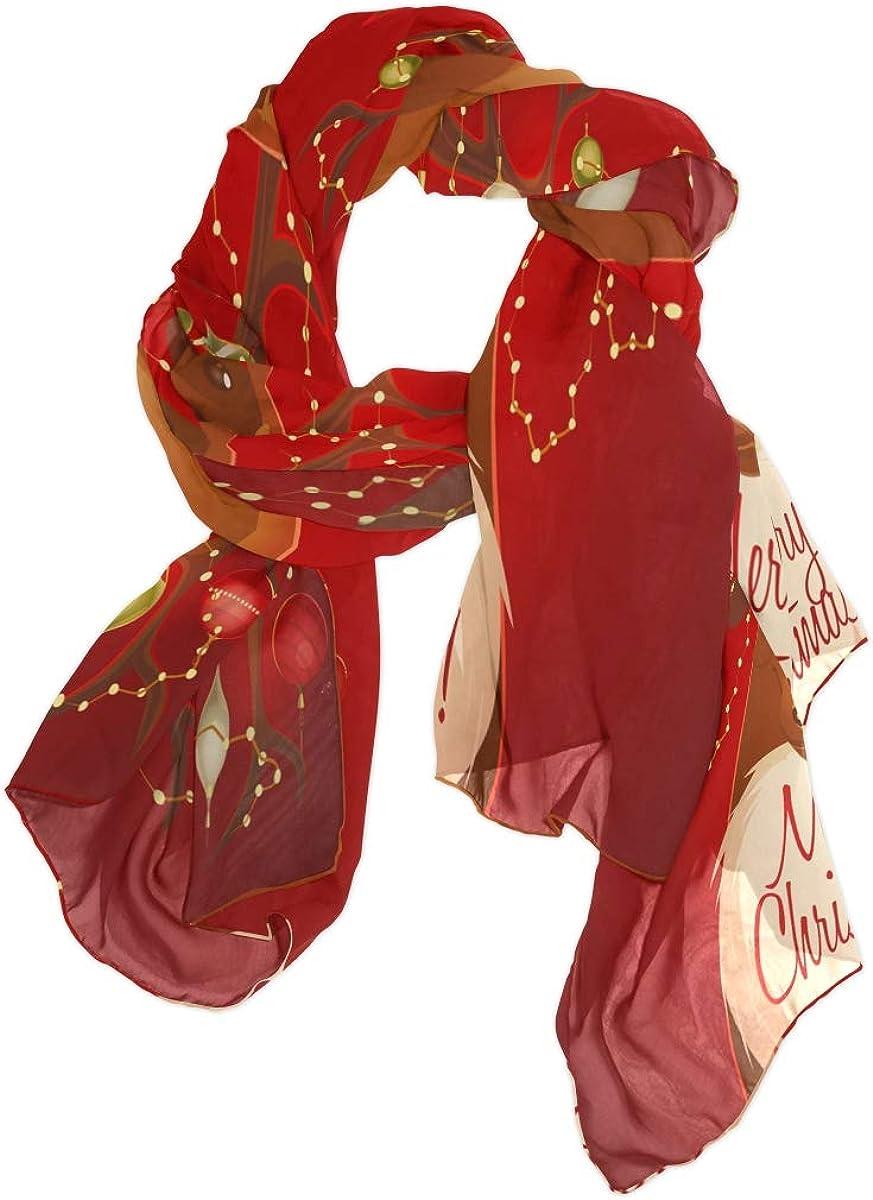 ALAZA Red Reindeer Christmas Deer Chiffon Silk Long Scarf Shawl Wrap