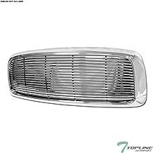 Topline Autopart Chrome Horizontal Billet Front Hood Bumper Grill Grille Cover 1PC For 02-05 Dodge Ram 1500/2500 / 3500