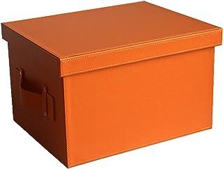 JINTIANSDS Rectangle en Cuir Boîtes De Rangement avec Couvercle De Poignée,Portable Grande Capacité Paniers De Rangement,D...