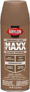 Krylon K09160000 COVERMAXX Spray Paint, Satin Brown Boots, 12 Ounce