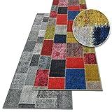 Teppichläufer Monsano | Patchwork Muster im Vintage Look | viele Größen | rutschfester Teppich Läufer für Flur, Küche, Schlafzimmer | Niederflor Flurläufer | anthrazit Breite 80 cm x Länge 300 cm