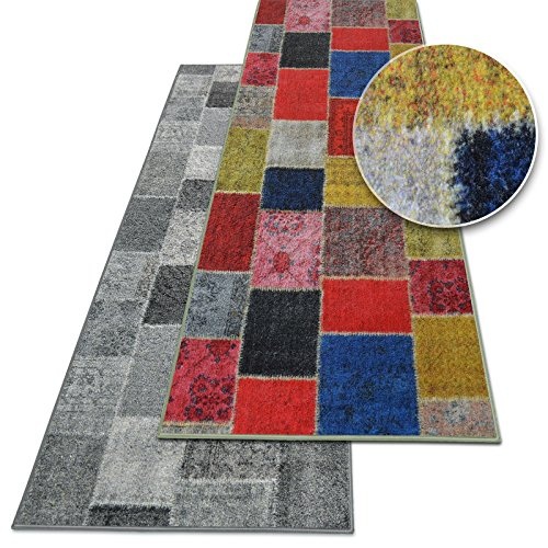 Teppich-Läufer auf Maß Monsano | Moderner Wohnteppich für Flur, Küche, Schlafzimmer | Meterware, viele Größen | rutschfest, robust & pflegeleicht (Anthrazit, 80 x 200 cm)