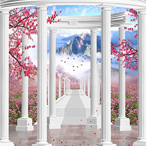 AOFOTO 6x6ft Romantic Retro Roman Column Backdrops Dreamy Scenery Background Vintage Pillar Beautiful Flowers Mountain Photography Studio Wedding Photo Shoot Video Props Bridal Girl Artistic Portrait