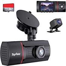 """Topvelo 3 Channel Dash Cam with SD Card Included, 1080P Front Rear and Interior Three Way Dash Cam for Cars, 2"""" LCD Displa..."""