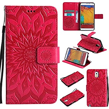 A-slim Galaxy Note 3 Wallet Case  TM  Sun Pattern Embossed PU Leather Magnetic Flip Cover Card Holders & Hand Strap Wallet Purse Case for Samsung Galaxy Note 3 - Red
