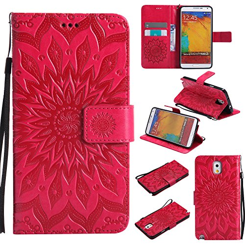 A-slim Galaxy Note 3 Wallet Case, (TM) Sun Pattern Embossed PU Leather Magnetic Flip Cover Card Holders & Hand Strap Wallet Purse Case for Samsung Galaxy Note 3 - Red