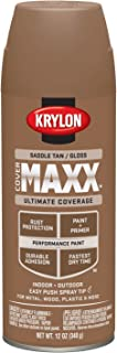 Krylon K09138000 COVERMAXX Spray Paint, Gloss Saddle Tan, 12 Ounce