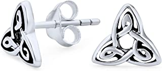Irish Triquetra Celtic Trinity Knot Tiny Stud Earrings For Women For Men 925 Sterling Silver Polished Finish Oxidized
