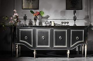 Casa Padrino aparador Barroco Negro/Plata 220 x 103 x A. 56 cm - Armario de salón con Tapa de Vidrio y 4 Puertas - Muebles...