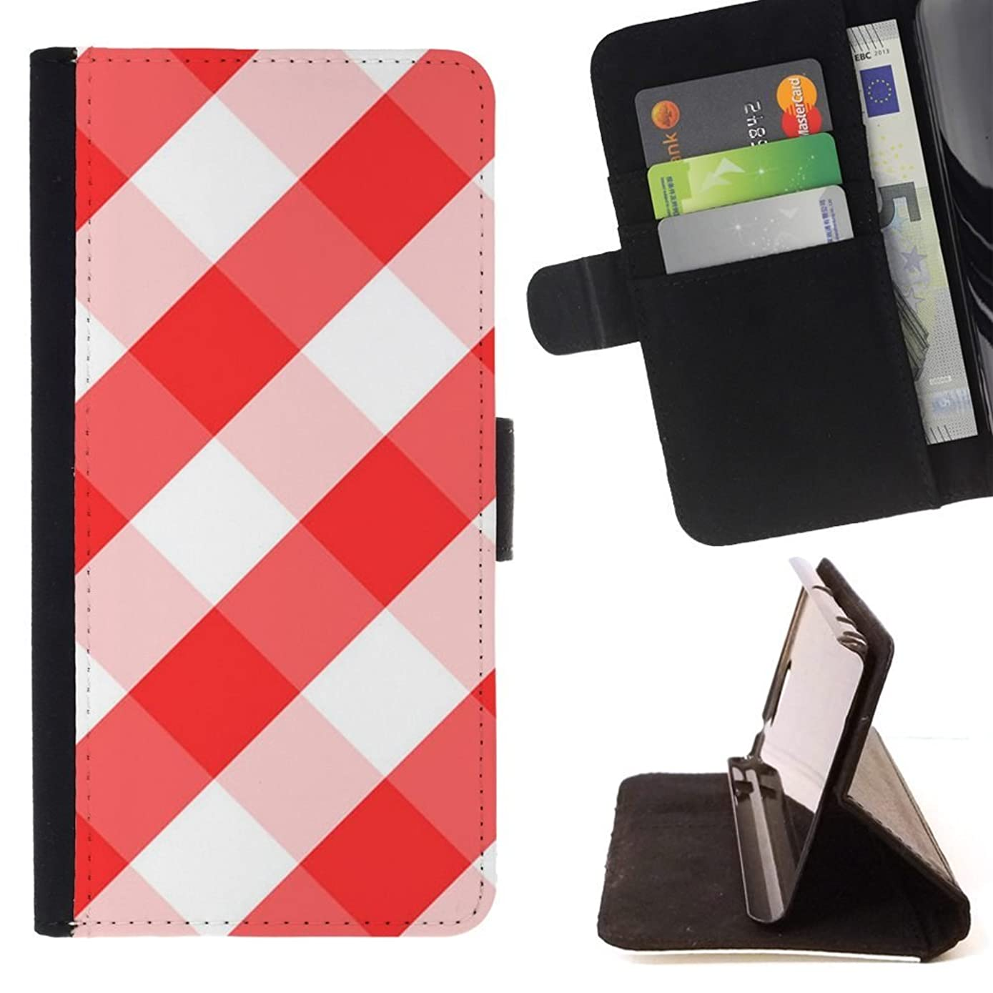 White Red Tablecloth Checkered Pattern - Colorful Pattern Flip Wallet Leather Holster Holster Protective Skin Case Cover For LG G4 Stylus / G Stylo / LS770 H635 H630D H631 MS631 H635 H540 H630D H542