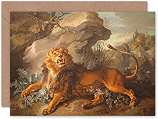 Wee Blue Coo CARD GREETING GIFT PAINTING ALLEGORY ASHANTI FABLE OUDRY LION SPIDER