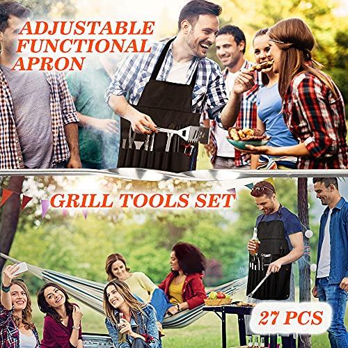 61N2 y1dI+S. SL500  - EIGNO Grillzubehör, 27-teiliges Grillzubehör-Set, professionelles Edelstahl-Grill-Set mit Fleischthermometer und Injektor, perfektes Grillbesteck für alle Ihre Grillbedürfnisse