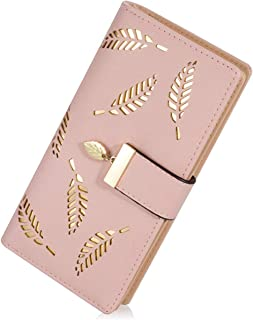 PALAY® Women's Leather Wallet Hollow Leaf Pattern Bifold Long Wallet