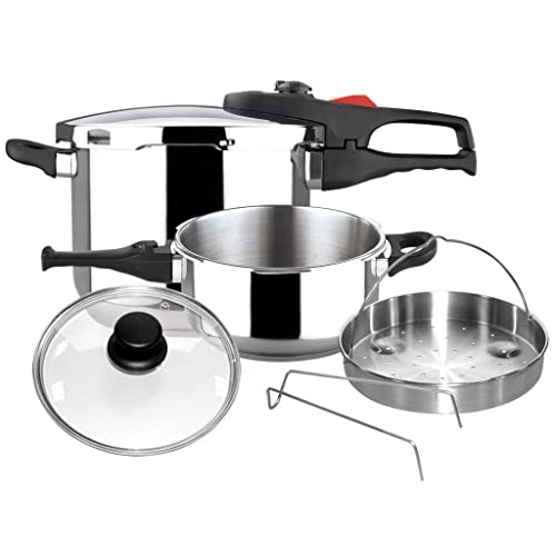 Magefesa 01OPPRAPL47 6-Piece Practika Plus Stainless Steel Pressure Cooker Set, 4 and 6