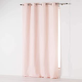 douceur d'intérieur Absolu Rideau a Oeillets 140 x 260 cm Microfibre Unie ABSOLU Polyester, Rose Pale, 260x140 cm