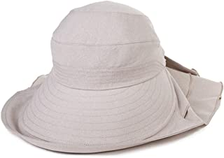 Siggi Summer Cap UPF 50+ Sun Hat Ponytail Large Brim with Neck Cover Bill Flap Cord for Women