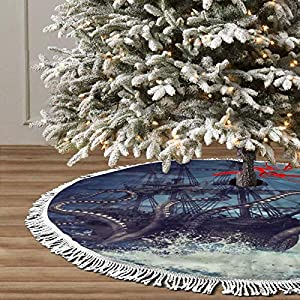Christmas Tree Skirt Night Scene with Pirate Ship Octopus Fine Tree Skirt for Handicraft for Holiday Party, Festive Decoration