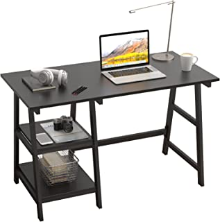 SogesPower Bureau pour ordinateur de bureau avec cadre en acier et 2 étagères pour beaucoup d'espace de rangement, 120 x 6...