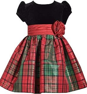 Girls Bubble Sleeved Velvet Red Dress with Petticoat,Girls Holiday Dress