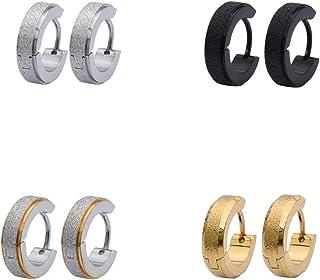 OYOWOOA الأقراط الفولاذ المقاوم للصدأ الطبية مثقوب للرجال مع انخفاض الحساسية الأقراط الذهب والفضة السوداء 3 أزواج