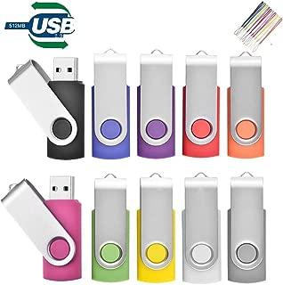 TEWENE USBメモリ 512MB 10個セット フラッシュメモリー フラッシュドライブ usbフラッシュメモリー 回転式 ストラップ付 10色ミックスグカラー (512MB、512GBではありません)