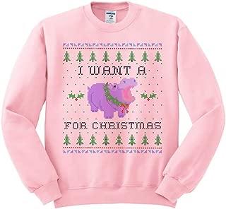 TeesAndTankYou Hippopotamus for Christmas Sweatshirt Unisex