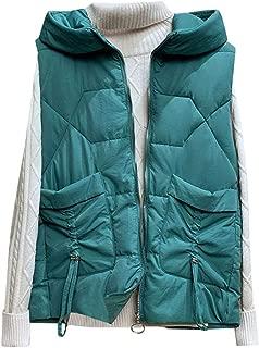 QIQIU Womens Warm Sleeveless Solid Short Drawstring Pocket Hooded Vest Coat Jacket Winter Cotton Waistcoat
