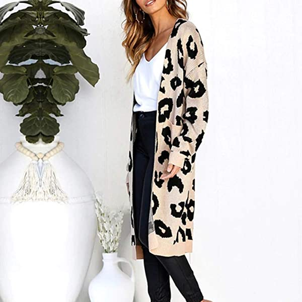 Leopard Cardigan For Women Long Sleeve Open Front Chunky Warm Cardigans Sweater Blouses