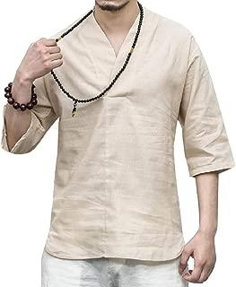 MogogoMen V Neck 3/4 Sleeve Plus-Size Cozy Pure Color Loose Fit T-Shirt