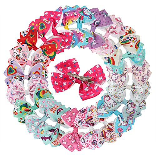 XIMA Unicorn Hair Bows Clips For Girls Women 3.5inch Grosgrain Ribbon Bows With Alligator Clips Hair Accessories (22pcs with clip)