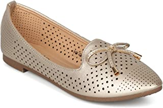 Alrisco Women Pointy Toe Perforated Bow Tie Slip On Loafer Flat - IA51 SBUP Collection