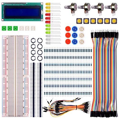 kuman for Raspberry pi 4B/3 Arduino Basic Starter Kit with LCD Screen Module Breadboard,Resistors Rotary Potentiometer Compatible with pro Mini atmega Mega Robot K64