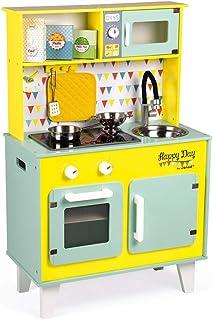 Janod - Gran Cocina de Madera Happy Day - Cocina para niños equipada con nevera y horno microondas, Sonido y Luz - Imitación y Despertar - 6 accesorios incluidos - A partir de 3 años (J06564)