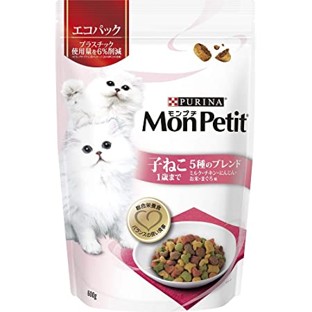 モンプチ バッグ 成猫用 子ねこ用 5種のブレンド ミルク・チキン・にんじん・お米・まぐろ味 600g [キャットフード・ドライ]