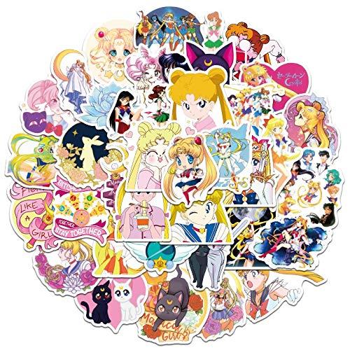 Conjunto Anime Sailor Luna Etiqueta De Dibujos Animados Graffiti Pvc Impermeable Pegatinas Para Portátil Maleta Bicicletas Juguete Calcomanías Para Niños 50 unids/