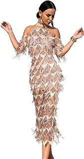 Miss ord Sexy High Neck Off Shoulder Tassel Sequin Short Sleeve Dresses Split Elegant Party Dress
