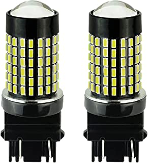 3157 T20 Car RV LED Bulb - MuHize Super Bright 6000K White DC 12V-24V 144SMD with Projector, Replacement 3056 3156 3057, for Camper Reverse Brake Light, 2 Years Warranty (Pack of 2)