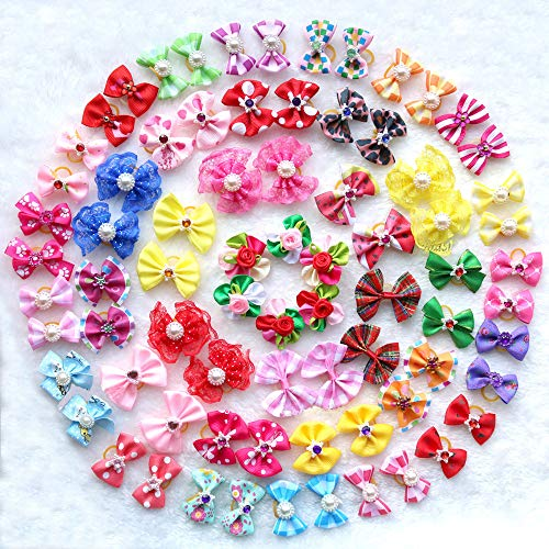 Yagopet 50pcs/Pack Cute New Dog Hair Bows Pairs Rhinestone Pearls Flowers Topknot Mix Styles Dog Bows Pet Grooming Products Mix Colors Pet Hair Bows Topknot Rubber Bands
