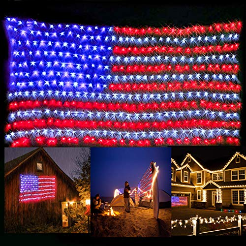 KiflyTooin American Flag Lights with Super Bright LEDs, Waterproof Led Flag Net Light of The United States for Yard,Garden Decoration, Festival, Holiday, Party Decoration,Christmas Decorations
