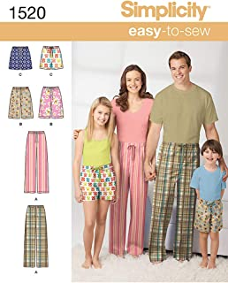 Simplicity 1520 Easy to Sew Pajama Pants Sewing Patterns, Adult Sizes XS-XL and Youth Sizes XS-L