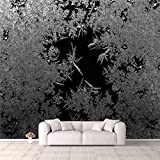 3D Wallpaper Natural ice Crystals Frostwork on Dark Backround Macro Closeup Self Adhesive Bedroom Living Room Dormitory Decor Wall Mural Stick and Peel Background Wall Ceiling Wardrobe Sticker
