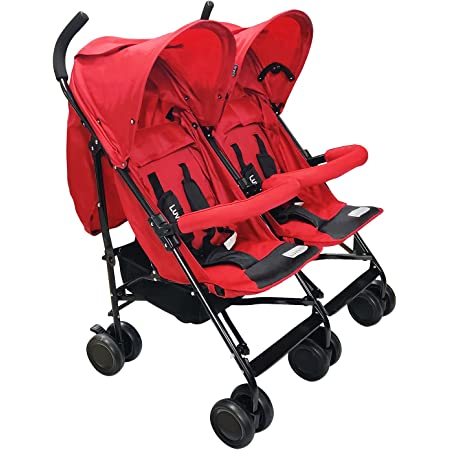 LuvLap Twin Star Stroller/Buggy, for Baby/Kids, 6-36 Months (Red)