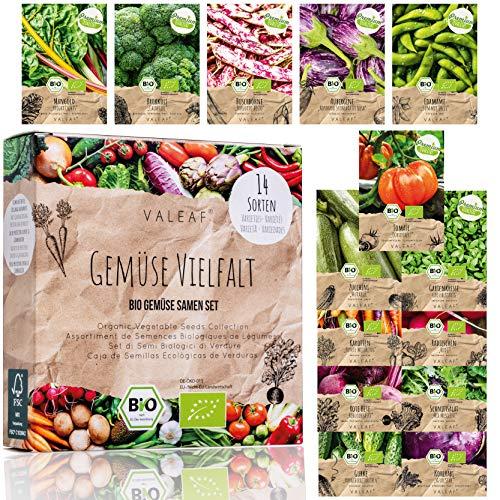 BIO Gemüse Samen Set - 14 Sorten Gemüsesamen aus biologischem Anbau, samenfestes Gemüse Saatgut, Bio Gemüsesamen Set für Küche, Balkon und Garten, 14er Pflanzensamen Set