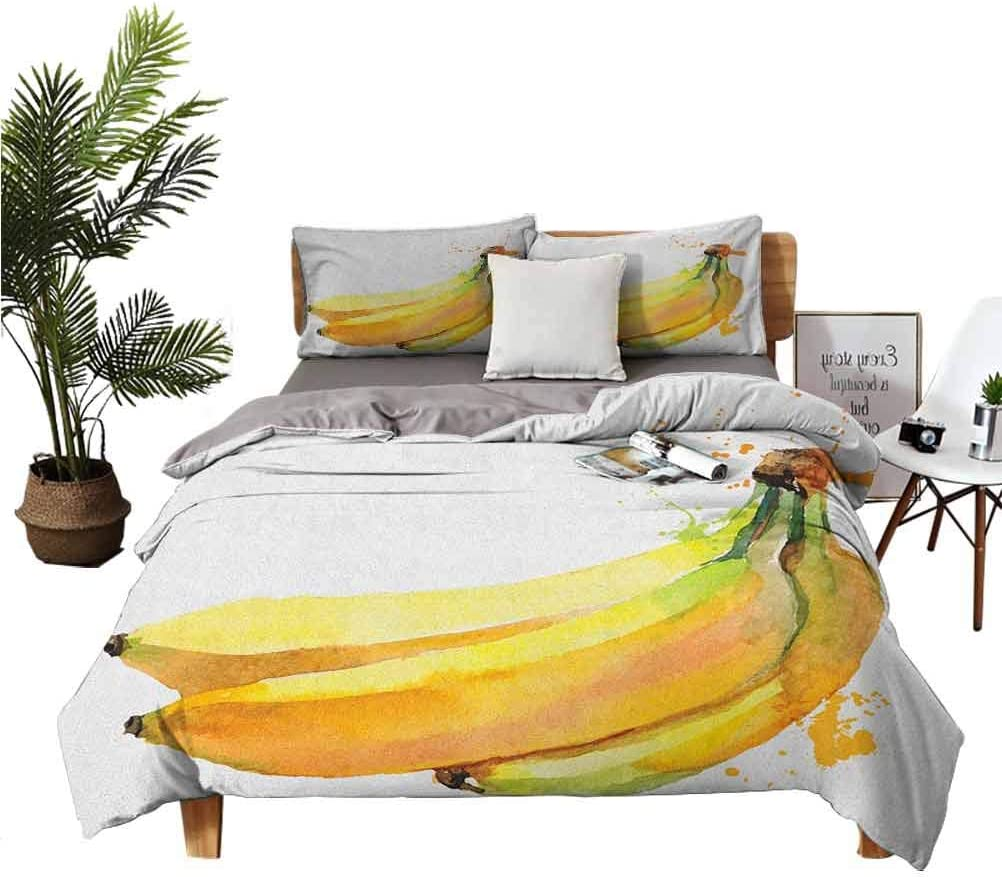 Banana Bedspread Mesa Mall Set Watercolor Hand Style Tropical Frui excellence Painted