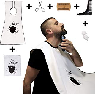 The Neat Guy 6-PACK Beard Catcher Kit with Beard Apron / Bib for Mess-Free Shaving + Shaping Tool + Comb + Scissor + Bag, All you Need for a Good, Clean Shave, The Perfect Gift for Fathers Day