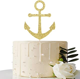 Gold Glitter Ship Anchor Cake Topper - for Baby Shower/Nautical Themed Party/Navy Themed Bon Voyage/Navy Wedding Party Decorations Supplies