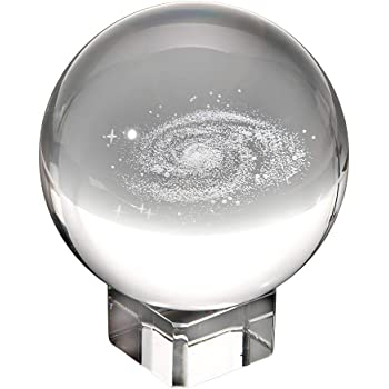 """OwnMy Galaxy Crystal Ball Glass Sphere Display Globe Paperweight Healing Meditation Ball with Clear Stand for Creative Gift (3"""" / 80MM)"""