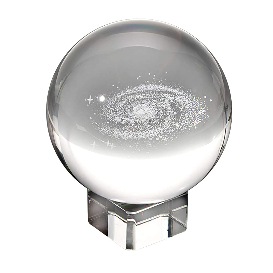 若い忘れられないチャンスSumnacon 水晶球 クリスタルボール レンズボール 80mm 無色透明 銀河 クリア台座付き 撮影 装飾置物 クリスマス 誕生日 プレゼント
